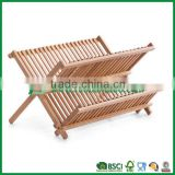kitchen & restaurant bamboo dish rack with cooking utensil holder