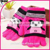 bear design double gloves finger gloves child winter gloves jacquard warm winter half-fingergloves