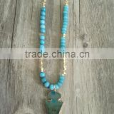 Trendy Natural Stone Beads Strand Necklace Gold Foiled Agate Arrow Head Pendant Necklace