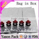 Yason transparent printed bag in box for wine bag in box wine dispenser 20 litre bag in box