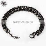 Wholesale cheap stainless steel bracelet black braided curb chain fashion couple bracelet