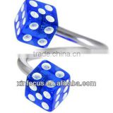 Blue DICE Spiral Twister Belly Ring&body jewelry navel ring&SBR rings