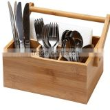 home & kitchen bamboo 4 compartment utensil flatware cutlery caddy holder