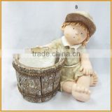 high quality polyresin sitting girl statues with pots in resin crafts