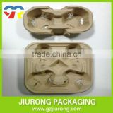 Disposable Paper Cup Tray Coaster, Made of Gray Cardboard for Carrying Cups Fast Food Packaging