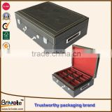 faux leather storage boxes/faux leather custom packaging suitcase/leather cosmetic gift set packaging box