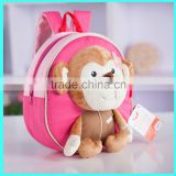 China supplier 2015 cartoon plush toy monkey baby girl backpack, kids backpack