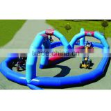 Economic type cheap inflatable go kart track hot selling products in china