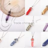 Multi colors long crystal point pendant necklace stone clear pink green quartz jewelry cuarzo pendant necklace