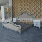 Rococo furniture antique popular bedroom furniture solid wood white&silver double bed