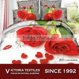 big red flower leopard background cotton fabric 2015 NEW pattern bedroom sets