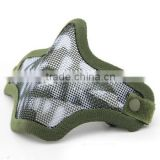 CS Green skull Tactical Airsoft Single Belt Protective Strike Steel Mesh Half Face Mask Fast Helmet Adaptable Mask