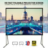 Format 16:9 200 inch Fast folding projection screen/outdoor portable screen/home cinema projector screen