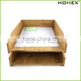 Stackable bamboo office paper tray/ a4 paper tray Homex-BSCI