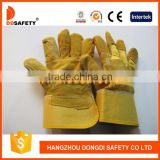 DDSAFETY 2017 Wholesale Cheap Working Gloves Yellow Split Leather Glove