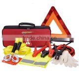 High Quality 6PCS Car Road Safety Tool Bag Include Booster Cable Warning Triangle Tow Rope Safety vest Gloves