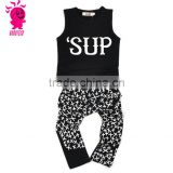 2016 Wholesale 2 pcs boy set in children clothes,black short sleeveless shirt and pants boys sets