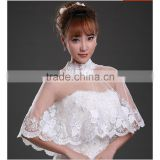 2016 Lace Wedding Bolero Beads Cap Sleeve Bridal Wrap Appliqued Wedding Jacket Prom Dress Shawl Shrug