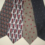 Self-fabric Adult Silk Woven Neckties Dots Silver