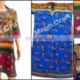 Tribal Dress - traditional Afghan tunic - Kuchi ethnic Banjara Dress- Afghan dress-Mirror work yokes tunic