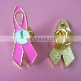 hot sale promotional pink ribbon badge custom color plated ribbon badge with customized printing logo