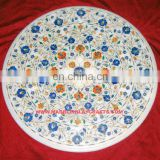 Round Marble Inlay Coffee Table Top, White Marble Inlay Coffee Table Top