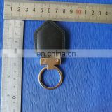 Fashion custom made logo thick ring leather metal keychain
