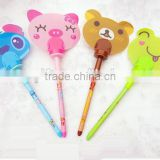 wholesale cartoon pen fan for children, cute mini plastic hand fan for children, kids ball pen
