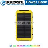 Hot selling dual USB 5V 2A portable 12000mah waterproof solar power bank for mobile charger