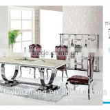 8 seater marble stainless steel metal dining table