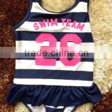 white and black stripes children swimwear,with a customized printing on front, one piece kids swimsuit,girls swimwear