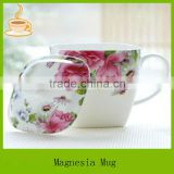bone china tea mug with flower decal and lid, china white ceramic tea cup, grace tea ware for gift