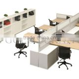 Steel foot & Wooden 4-seat Office Partition Workstation Cubicle with vice cabinets ( SZ-WS430)
