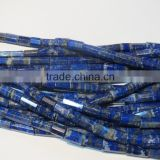 21 inch long strand Natural AAA grade Pyrite infused Lapis lazuli Faceted Large Tube Stone beads