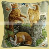 Charming Comfortable Lovely Cat Play with Butterfly Design Printed Red Sofa Cushion Cover CT-032