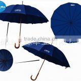 Wholesale auto open wooden golf umbrella blue with cheap price
