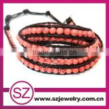 2013 fashion jewelry 5 wrap gemstone bead leather bracelet