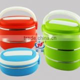 2014 new design printed bento stainless steel and PP plastic lunch box 3 tiers with buckle