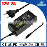 12V DC 2A security camera power supply adapter 2000mA 100V-240V AC regulated power UL listed