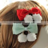 Lace Ribbon Bow Elastic Hair Band With Snowball,Chritsmas White Pom Pom Red Ribbon Hair Bow Hair Accessories
