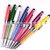 Newest Crystal Diamond pens with stylus function full color crystal stylus pens for promotional gift items