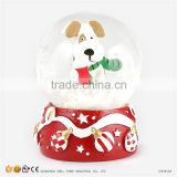 New Products 2016 Christmas Snow Globe Resin Cartoon Dog Statues for Sale