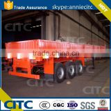 Heavy duty 3 axle 50 Tons flatbed side wall open cargo semi truck trailer for sale draw bar trailer available