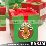 Cute elk printed beautiful gift box square shaped christmas packaged gift box