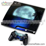 For PS3 Slim Vinyl Skin Sticker Decal Green Beauty And Claw Marks + 2 New Controller Skins + Free Shipping