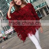 2015 new printing autumn winters v-neck tassel bat cape coat loose big sizes knitted shawl