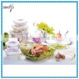 Heat Resistance Glass borosil clear glass lunch box with lock