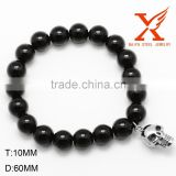 Wholesale Stretch Beaded Bracelet Big Black Skull Beads 316L Sstainless Steel Jewelry Men Power Bracelet