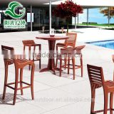 China wholesale luxury antique outdoor furniture meri wood bar table and chair with back