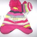 boys acrylic knitted earflap hat and gloves set